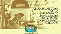 Começam nesta segunda-feira (13) as inscrições para custeio do passe escolar